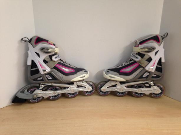 Inline Roller Skates Ladies Size 9 Rollerblades White Pink Excellent