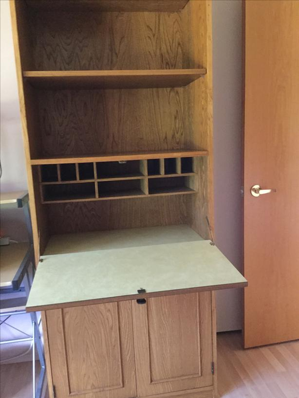 Wall unit, drop down desk and drawers