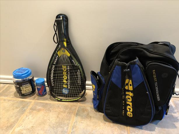 E-Force Racquetball Racquet and Case and Supplies
