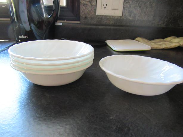 2 Different sized Corelle White bowls- see details below