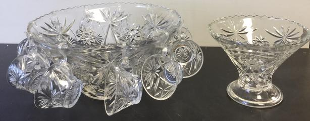 Glass Punch Bowl, Fruit Bowl and Eleven Punch Glasses