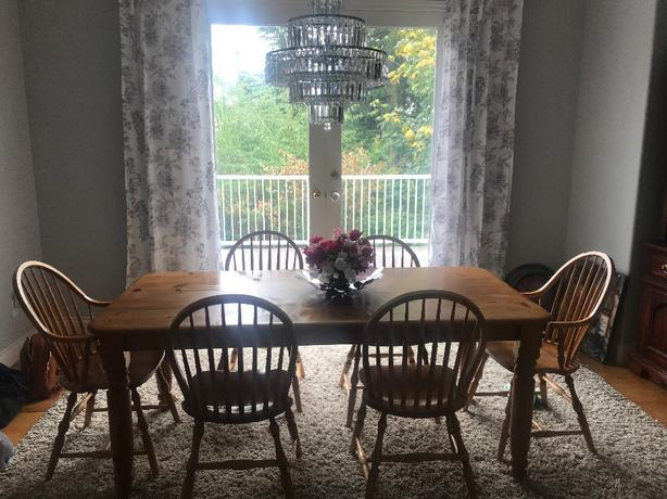 Solid wood table with 6 chairs - well loved