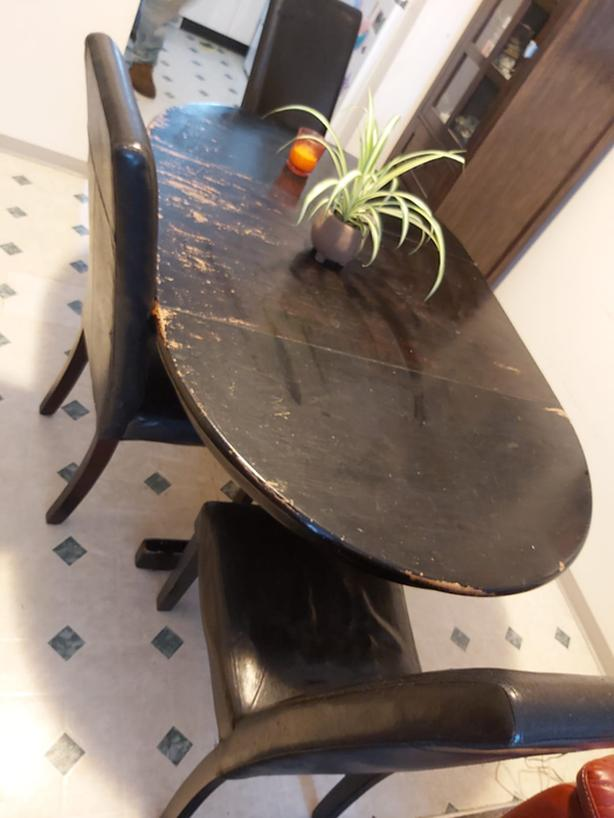 """ON HOLD! Like painting/Touch Up?  42 x 40"""" solid oak (under paint) table & Leaf"""