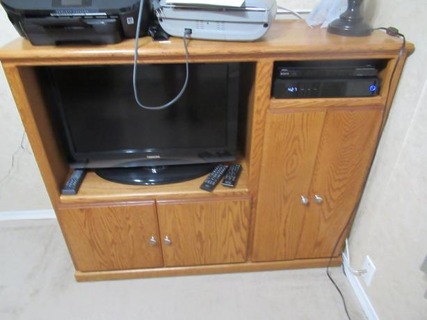 Oak wooden custom built TV Stand with shelves