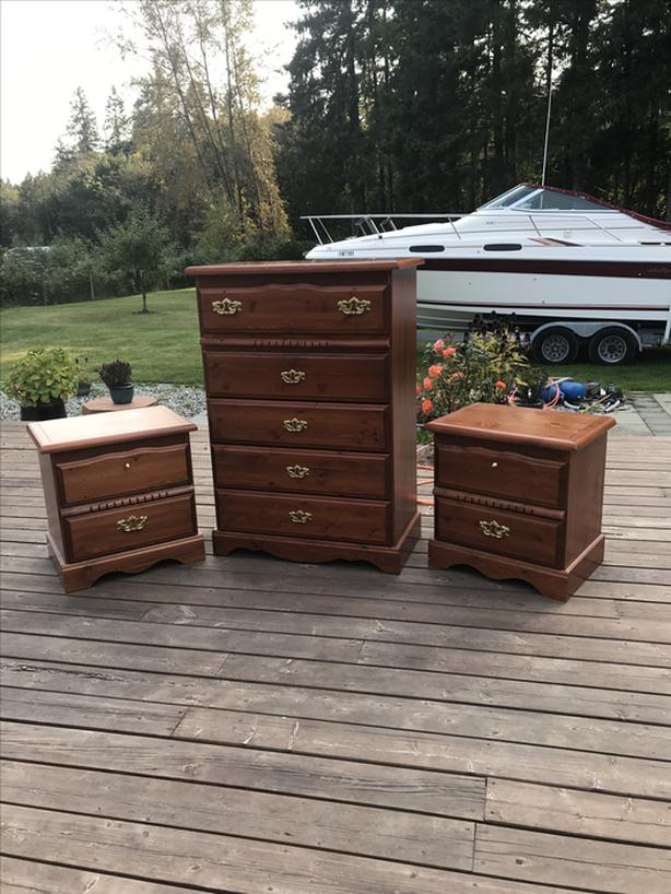 Tall boy dresser with 2 bed side tables- Duncan