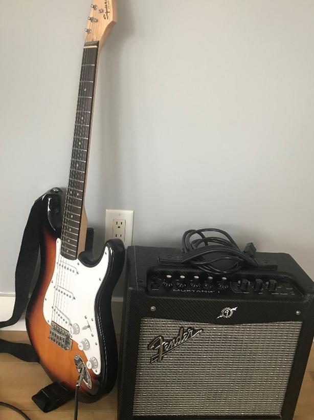 Fender electric guitar and amp