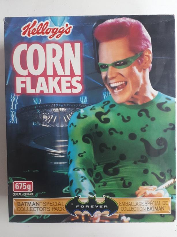 Batman Jim Carrey The Riddler Kellogs Corn Flakes box