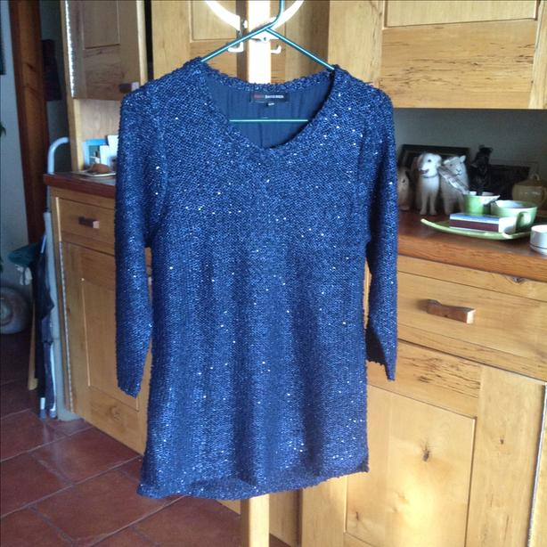 Sequined midnight blue top