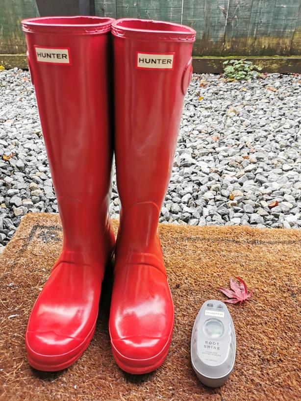 Size 10.5 to 11  Hunter Women's Original Tall Gloss Rain Boots: Military Red