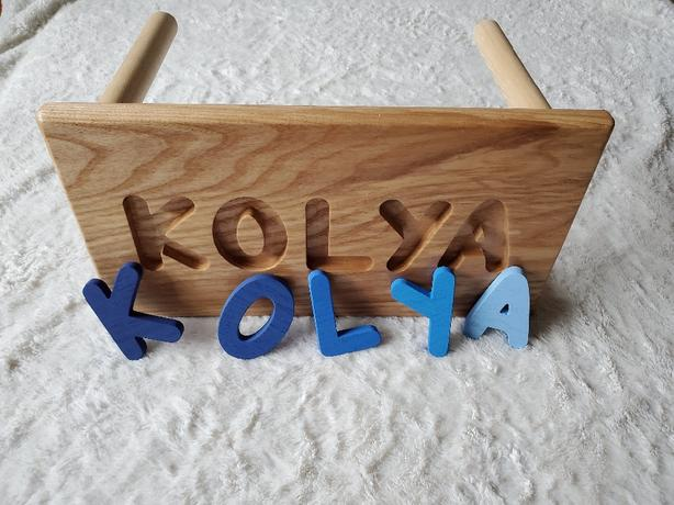 name stools - handmade by Addy and Anna Woodcraft