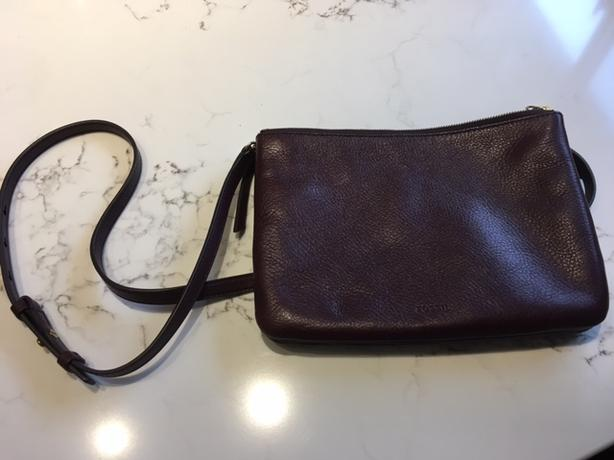 Fossil leather cross body bag - reduced