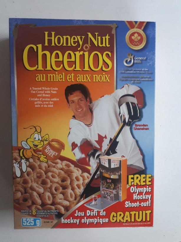 Brendan Shannahan Team Canada Olympic team Honey Nut Cheerios cereal box