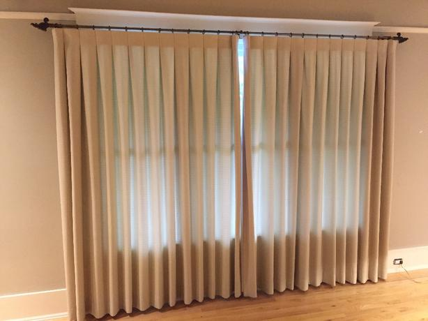 lined drapes and curtain rods