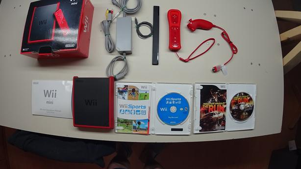 Nintendo Wii Mini Red Console - Tested and Working with 2 games