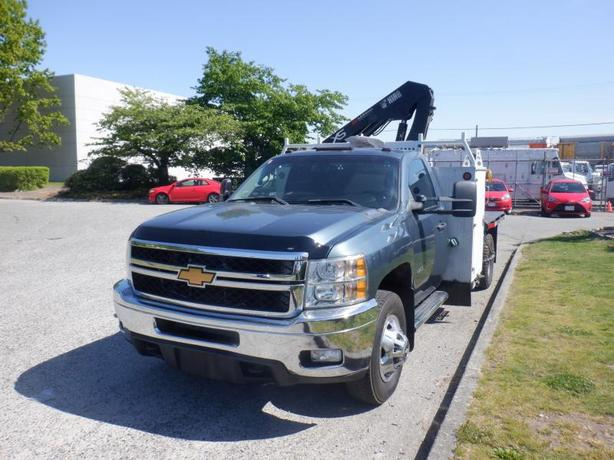 2013 Chevrolet Silverado 3500HD 6 Foot Diesel Flat Deck with Crane 4WD
