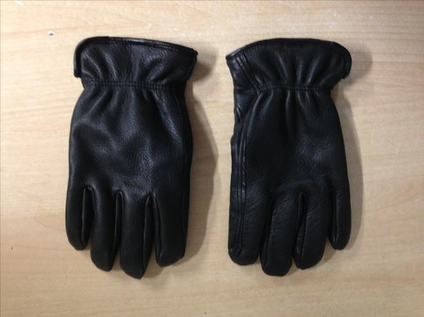Winter Gloves and Mitts Men's Size Medium Fleece Lined Leather Black Excellent