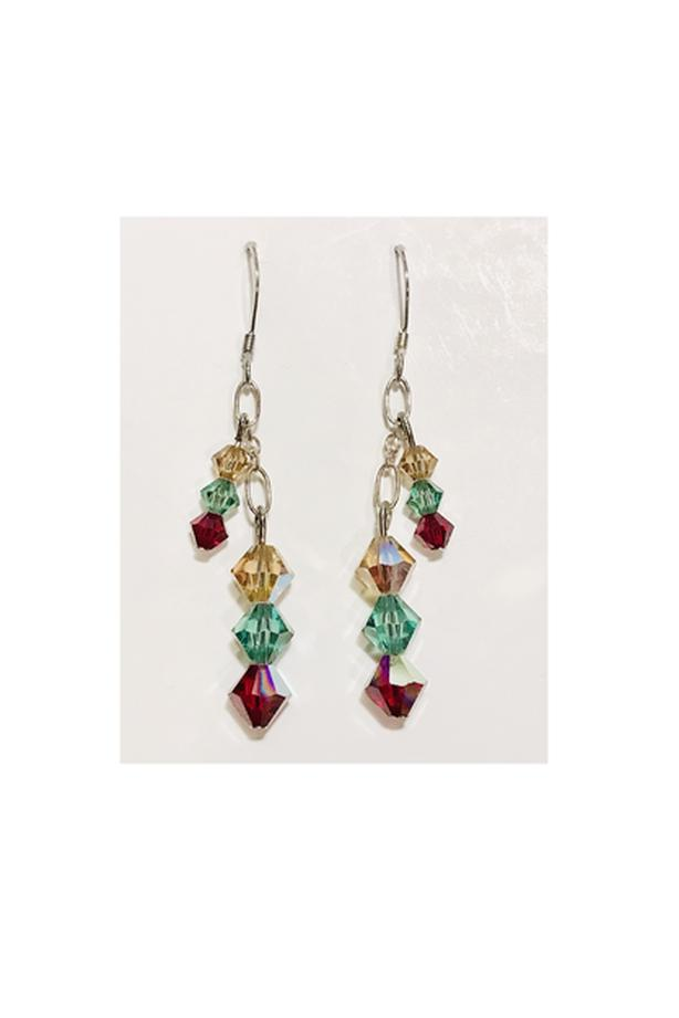 Handcrafted Green, Red & Golden Yellow Crystal Earrings