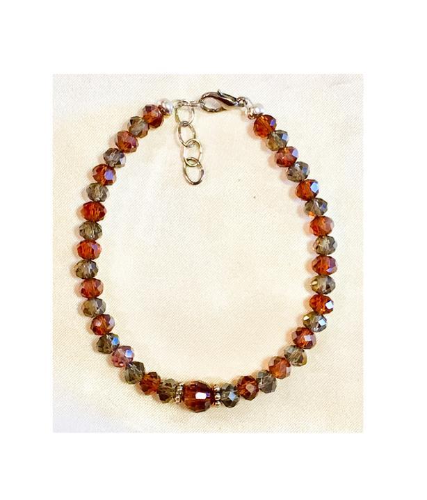 Handcrafted Amber & Grey Glass Bead Bracelet