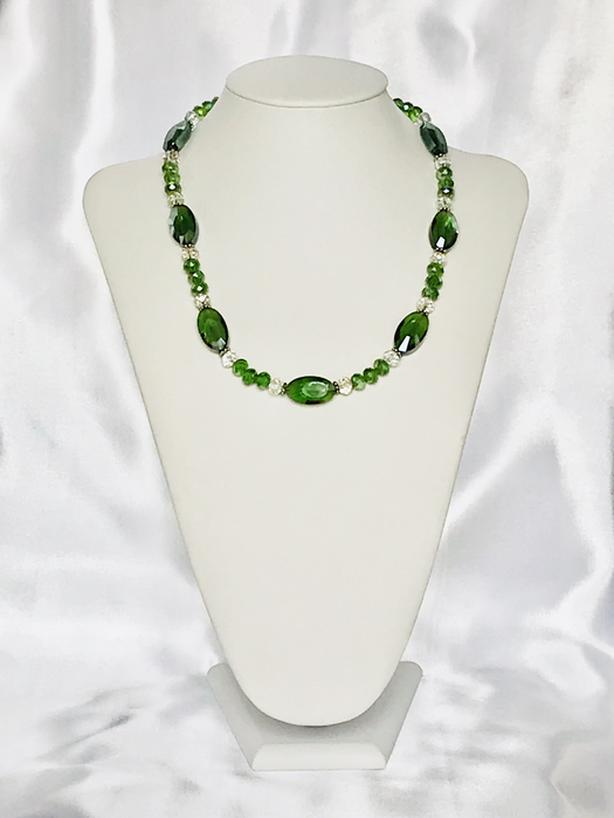 Handcrafted Green Glass Beaded Necklace
