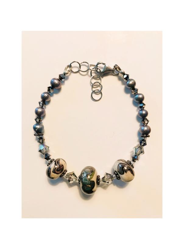Handcrafted Lampwork Bead & Grey Pearl Bracelet