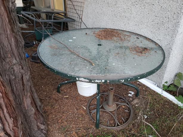FREE: Glass Outdoor Table, Umbrella and 4 chairs