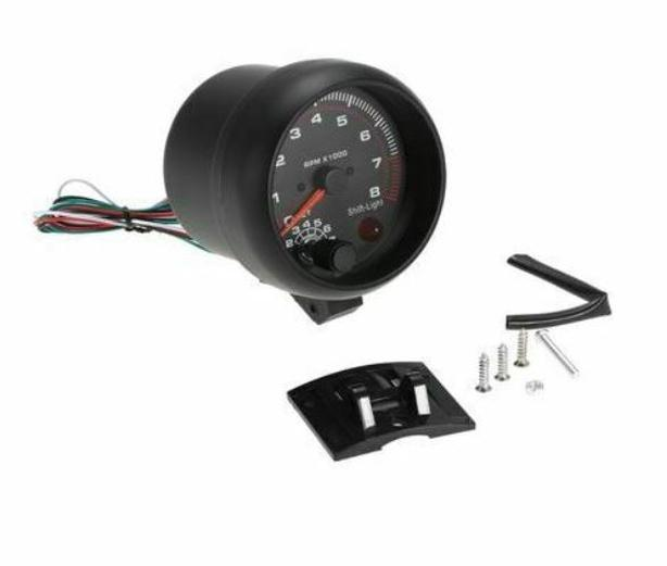 """3.75"""" Car Universal Black Tachometer Gauge White Inter...."""
