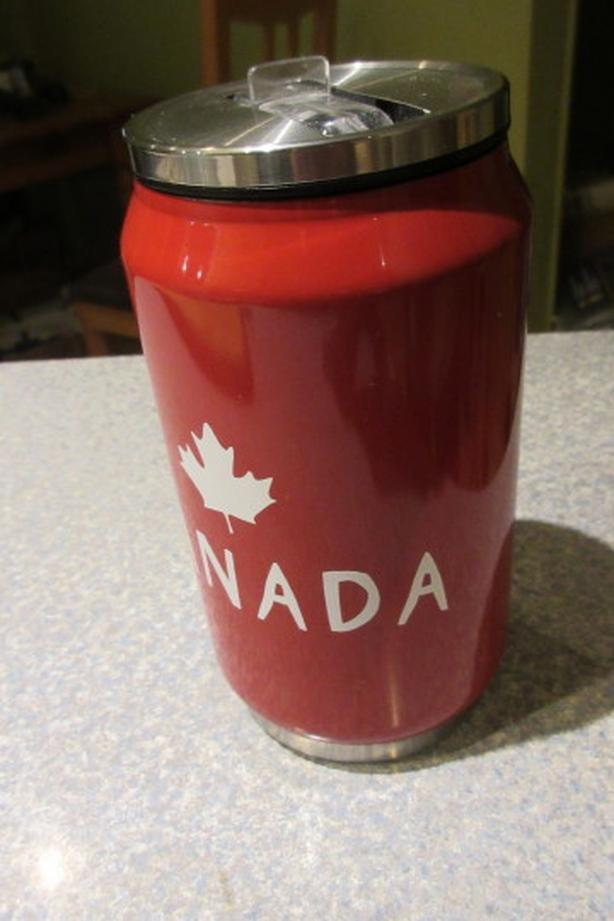 Canada themed beer can thermos