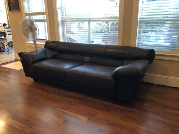 FREE: Leather sofa with 2 foot stool