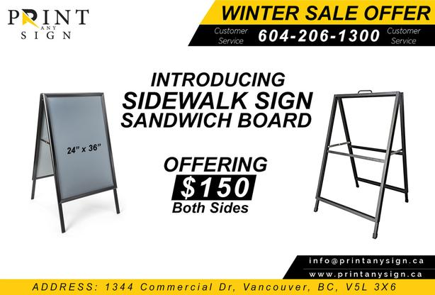 Sidewalk Sign Sandwich Board Design & Printing is now available