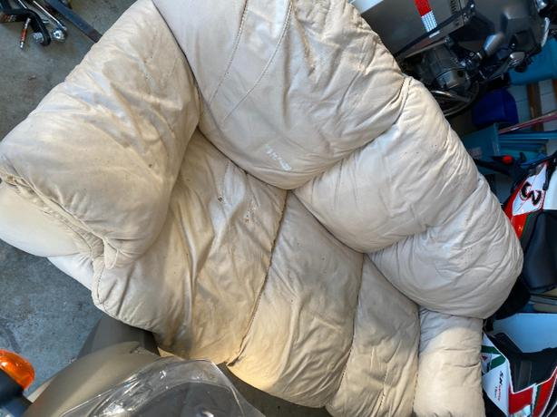 FREE: white leather pullout couch