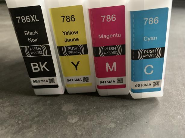 Printer Ink Cartridges (786XL, Black; 786 Yellow, Magenta, Cyan)