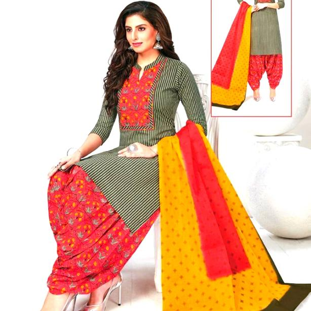 Salwar Suit with Patiyala Pant and matching scarf
