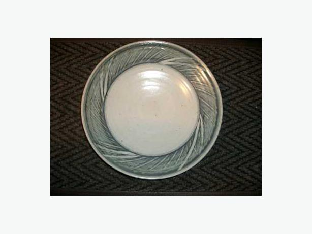 Display Plate Blue/Grey/Green, 12 3/4 inch diameter Ceramic