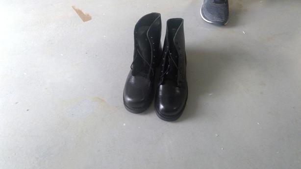 Black Leather steel toe boots size 9.5 E