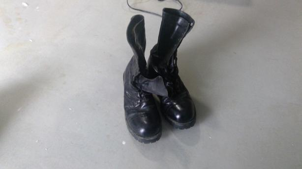 Steel toe leather high top boots