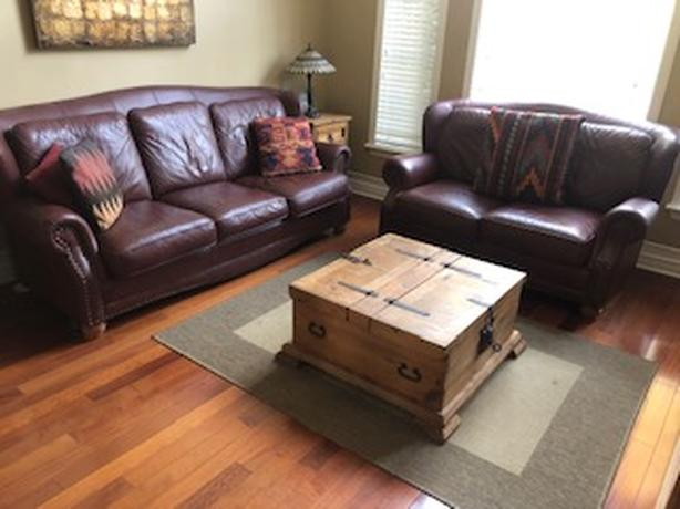 Classic leather couch and loveseat