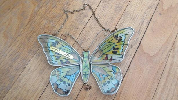 Handmade stained glass butterfly art