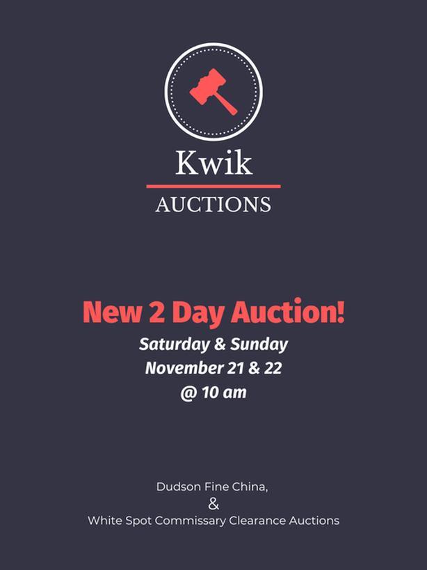 Restaurant Equipment Auction. Starts Saturday November 21 @ 10am!