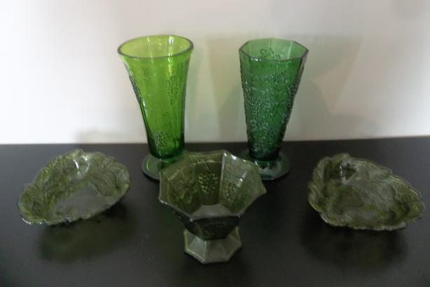 Vintage green harvest grape glass. OR TAKE ALL FOR $30.00 !!!!