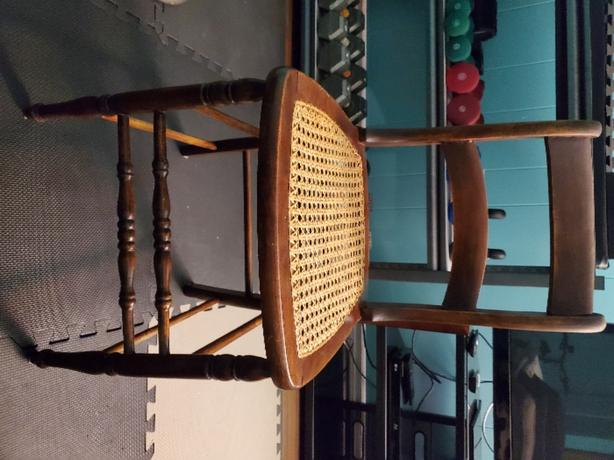 Antique wood and rattan dining chair