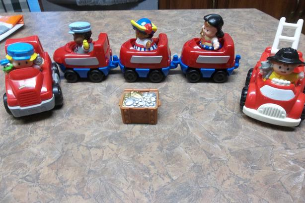 F.P. little people cars/trucks/train with drivers .