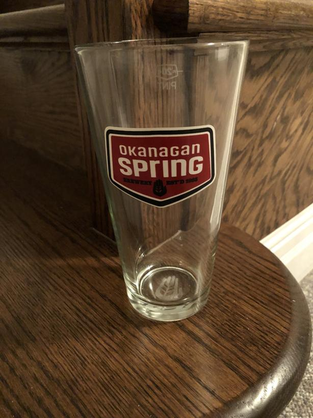 10 x Okanagan Spring Pint Beer Glasses - Brand New - Black Label
