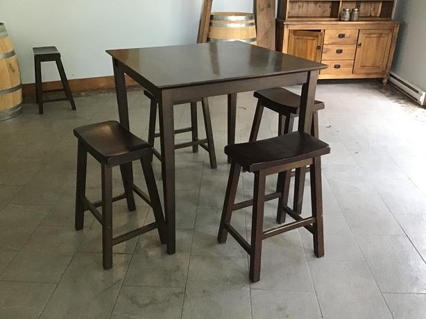Espresso Bar height tables and stools