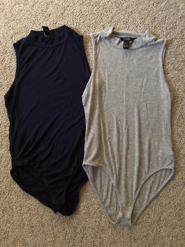 2 x Ladies Medium Cut off Sleeve Mock Neck Ribbed Bodysuits