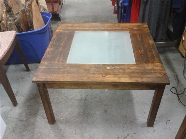 Smaller Wood and Glass Coffee Table