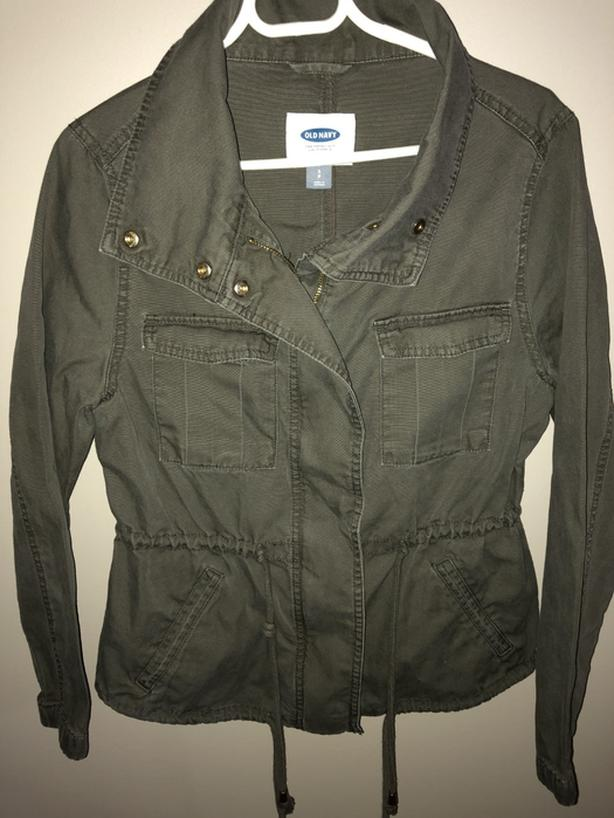 Ladies Old Navy Cotton Kelleen Military Field Jacket Size Small