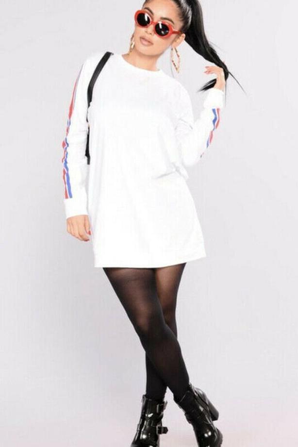 Ladies Fashion Nova Full Of Energy Tunic - Size Small - White