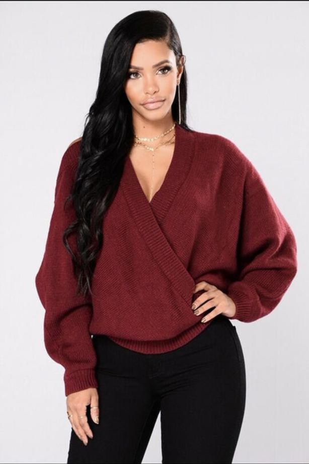 Ladies Fashion Nova Anne Marie Sweater Top Size Small - Burgundy