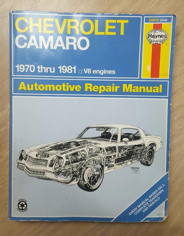 Haynes Automotive Repair Manual For Chevrolet Camaro 1970 To 1981