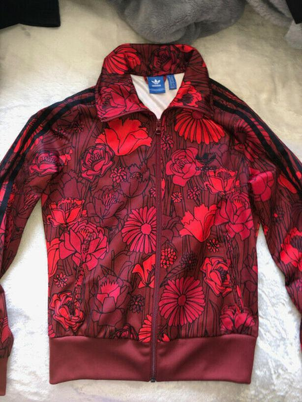 Ladies Adidas Firebird Track Jacket in Red Floral Size Small